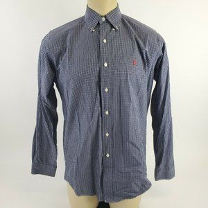 Men's POLO RALPH LAUREN Button Blue Plaid Shirt M
